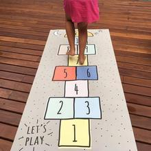 ins最新款 兒童房游戲墊 彩色數字跳棋爬爬墊 帆布爬行墊游戲毯