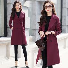 专柜品牌中长款女式风衣2019春秋新款韩版西装领气质百搭风衣外套