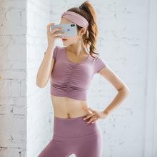 健身服女长袖速干运动上衣秋冬露脐紧身性感V领训练瑜伽服带胸垫