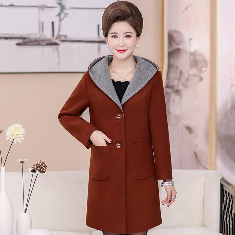 中老年女装秋冬连帽毛呢外套中长款大码妈妈修身加棉加厚呢子大衣