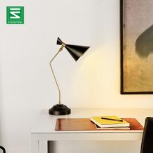 欧式台灯复古简约美式学习卧室床头灯铁艺创意书房五金led台灯