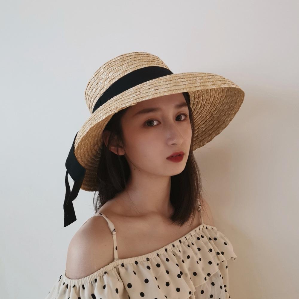 帽子女士春夏欧美风格盆帽法式复古赫本优雅麦秆大檐?#26377;?#36974;阳草帽