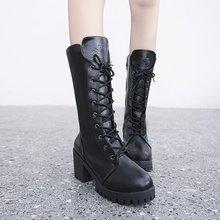 高跟中筒靴女2019冬季新款韓版系帶粗跟防水臺馬丁靴復古女式皮靴
