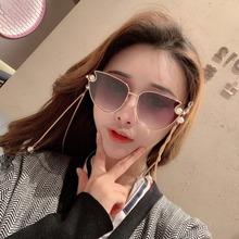 2019新款珍珠带链条太阳镜女1991时尚网红同款猫眼珍珠墨镜女链子
