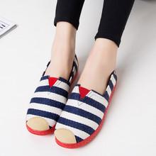 老北京布鞋韩版条纹女式休闲平底鞋懒人一脚蹬布鞋