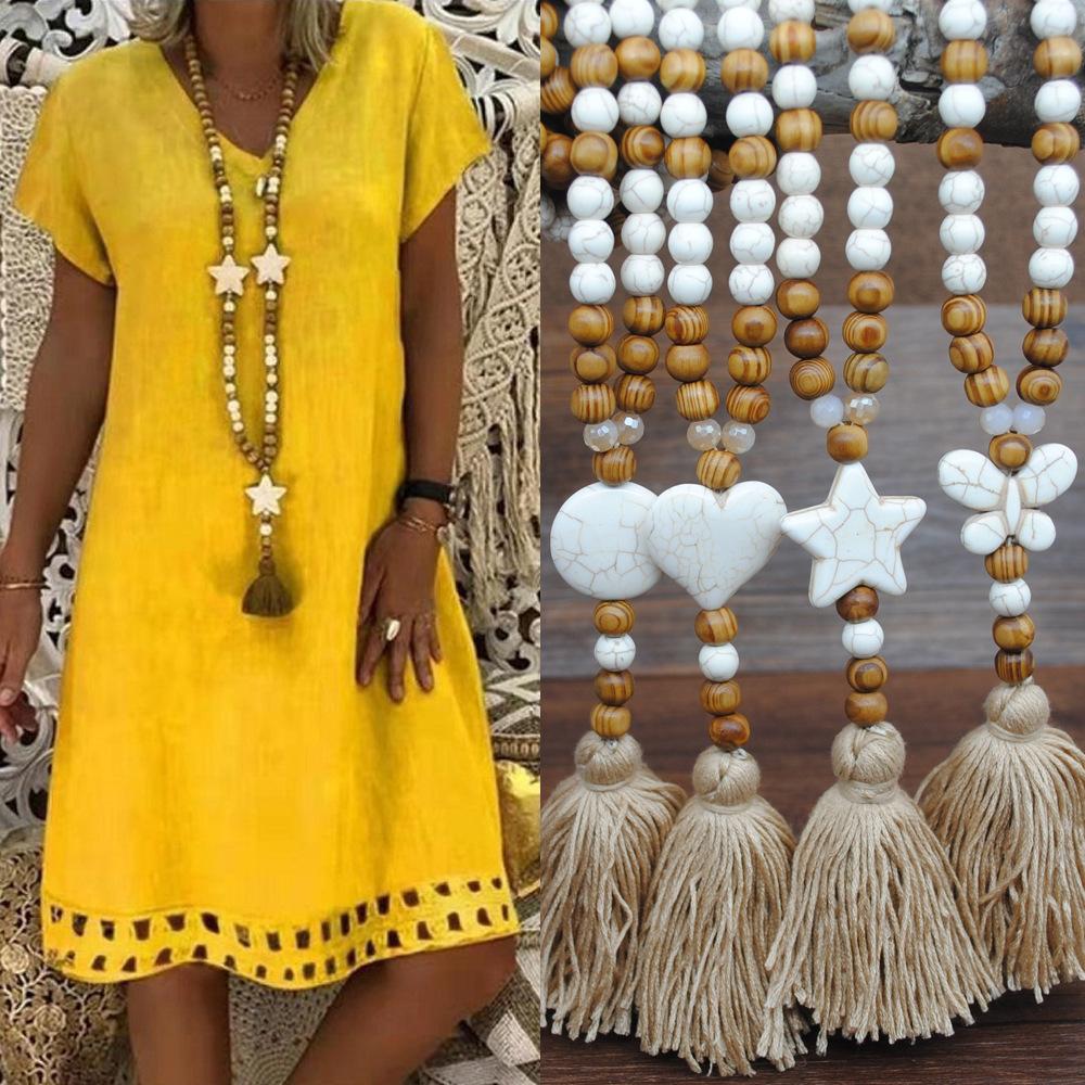 速卖通欧美外贸波西米亚麻服饰挂件流苏毛衣链手工串木珠长项链女