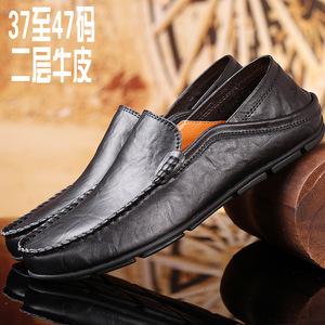 亚马逊真皮豆豆鞋男士懒人鞋大码男鞋休闲男鞋子潮鞋皮鞋跨境外贸