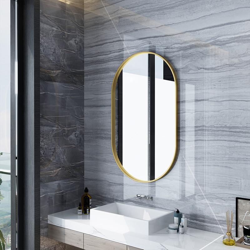 北欧卫生间铁艺浴室镜 民宿装饰卫浴镜家用厕所挂墙椭圆镜子定制-