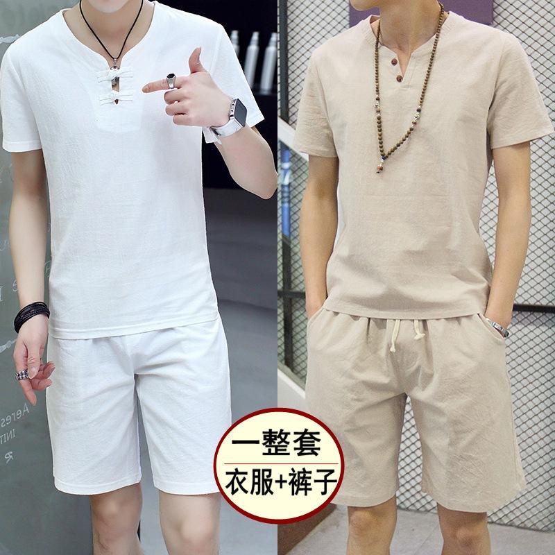 夏季亚麻套装男装短袖T恤中国风棉麻套装男上衣半袖复古两件套装