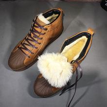 羊皮毛一体冬季男鞋保暖贝壳头东北雪地靴高帮马丁靴防水加绒棉鞋