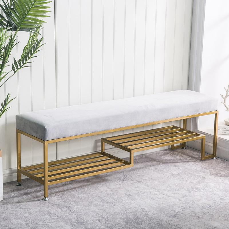 可定制简约铁艺换鞋凳 现代绒布长条沙发凳 玄关可储物服装换鞋椅