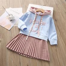 跨境3-7岁秋装一件代发童装女童裙子字母带帽子卫衣百褶连衣裙S