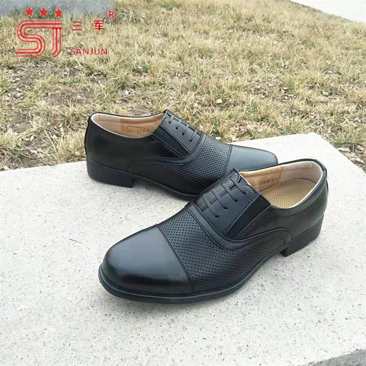 正装三接头07B商务皮鞋夏季网眼皮凉鞋校尉常服皮鞋可一件代发