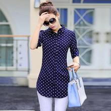 2018新款韩版圆点雪纺衫中长款女长袖衬衫时尚修身女式印花打底衫