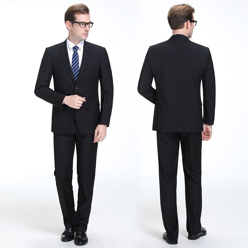 品牌男士商务西服套装中年黑色休闲上班职业正装结婚礼服羊毛套西