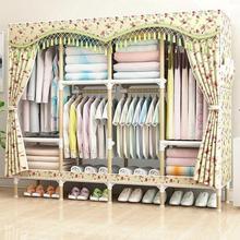 小型简易布衣柜钢管加粗加固单双人经济型组装布艺宿舍卧室挂衣架