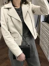 高端定制秋冬新款SLP进口绵羊皮夹克真皮皮衣女机车短款外套显瘦