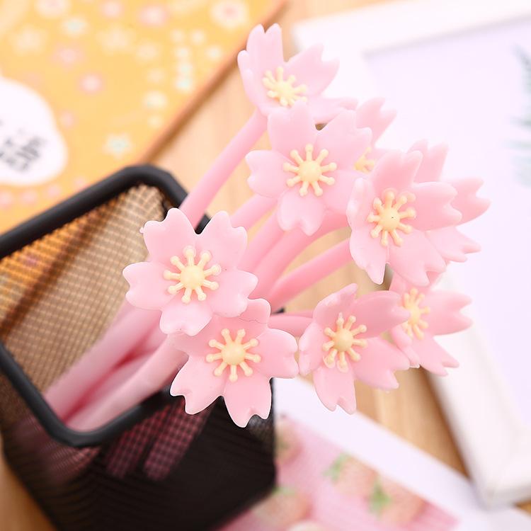 新款软胶花朵中性笔创意文具唯美樱花水性笔少女心系列办公签字笔