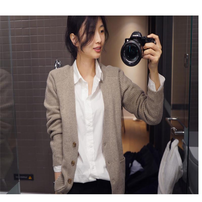 春秋新款羊绒衫女开衫宽松V领羊毛衫?#21487;?#38271;袖外套毛衣短款襟衫