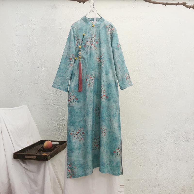 原创设计中式立领苎麻印花盘扣中长款连衣裙改良旗袍茶服秋季新款