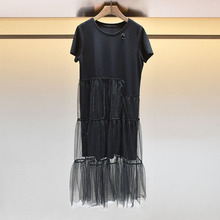 2019夏女裝 L7203802圓領短袖網紗拼接中長款T恤連衣裙S190991