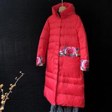 女装冬季时尚新款厚羽绒服中长款显瘦刺绣中国风原创设计连帽外套