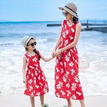 碎花绵绸母女装连衣裙夏装薄女童人造棉中长款沙滩裙子中大童童裙