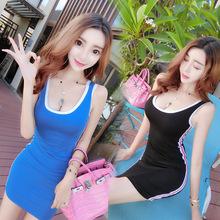气质性感女装连衣裙U领显胸大紧身背心裙时髦低胸包臀打底超短裙