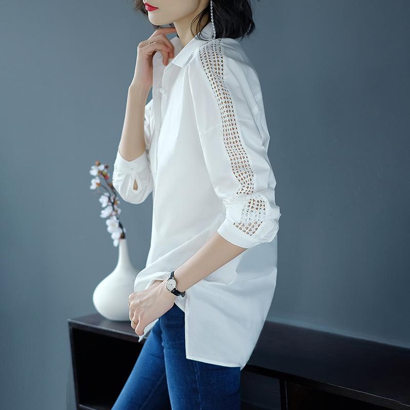 厂家直销2019新款纯棉白衬衣长袖秋中长款宽松大码韩版职业女衬衫