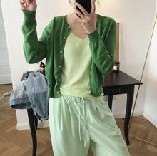 2019春季新品韩国chic简约圆领针织开衫宽?#19978;?#30246;百搭薄款上衣女