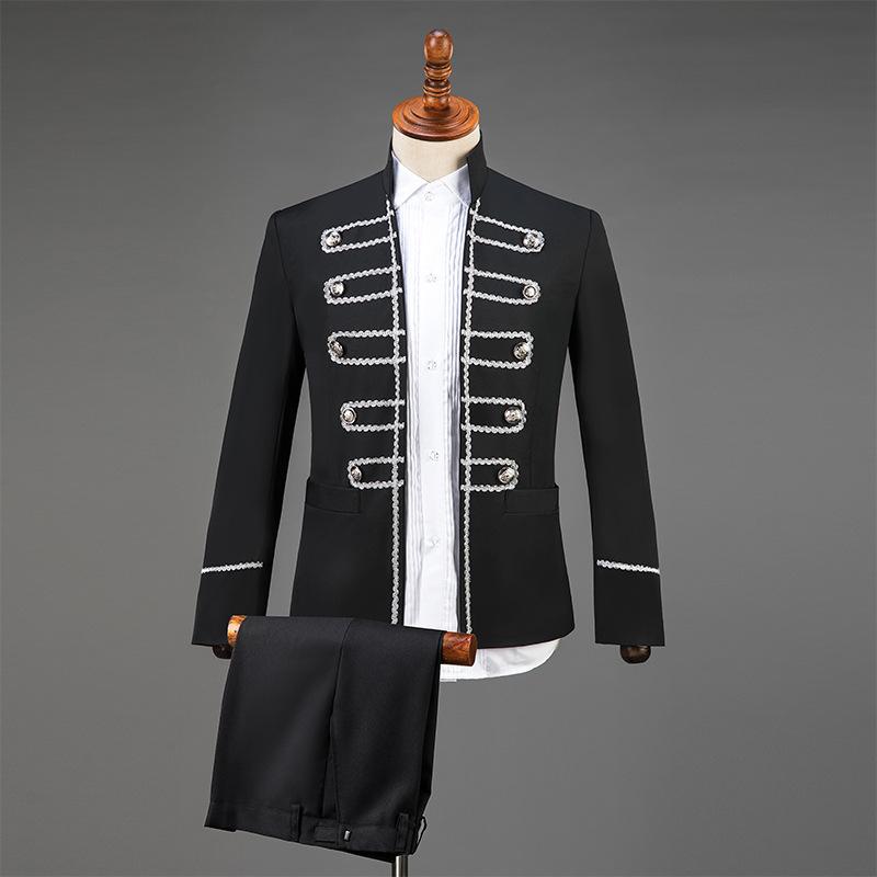 演出服男成人立领亮片歌手主持人服装舞台大合唱男士礼服西服套装