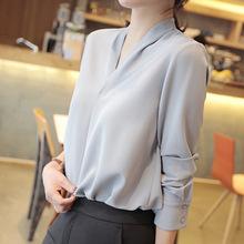雪纺衬衫女设计?#34892;?#20247;韩国女装V领上衣长袖洋气白色衬衣通勤小衫