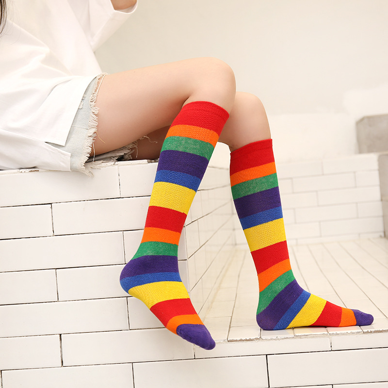 Stripe of 2019 autumn color female child socks of the canister in darling of socks of lot of lot of