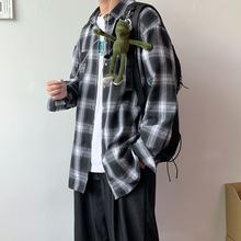 學生秋季新款格子襯衫男士長袖寬松潮流港風大碼情侶襯衣廠家直銷