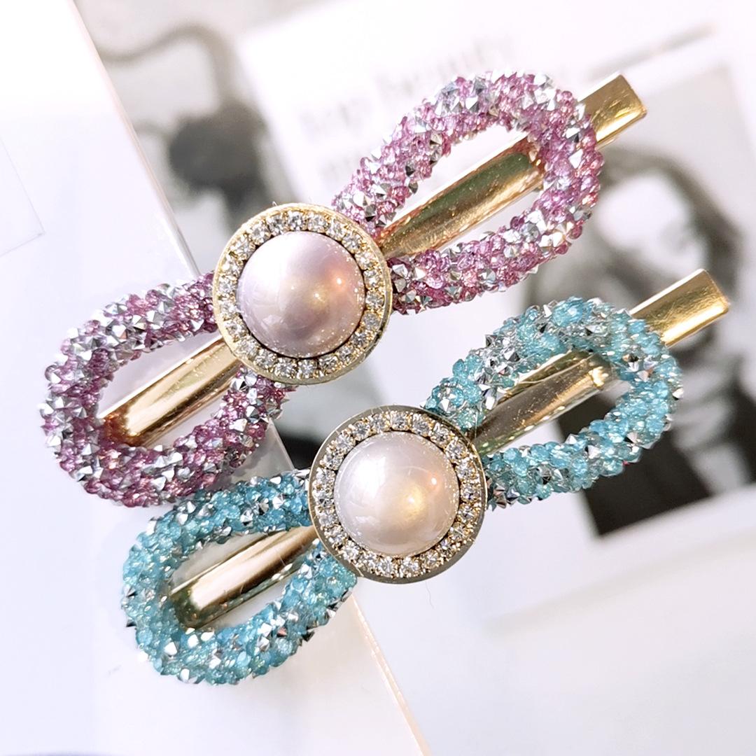 韩版网红同款高档水钻超闪方块一字夹韩版金属珍珠发夹发卡D144