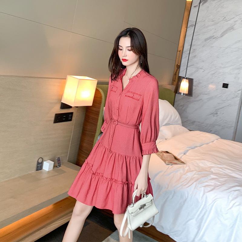 初秋装女2019新款雪纺连衣裙红色韩版一件代发女装V领单排扣a字裙