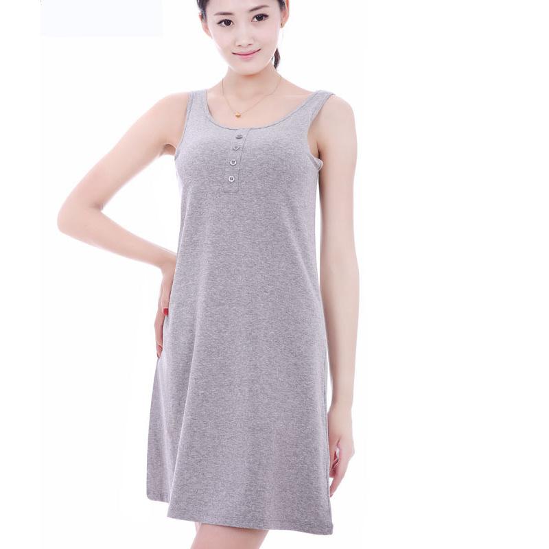 春夏韩版带胸垫家居服莫代尔睡裙免穿文胸罩杯一体背心连衣裙