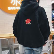 2019男士宽松时尚休闲冬装加厚玫瑰花卫衣套头保暖连帽卫衣