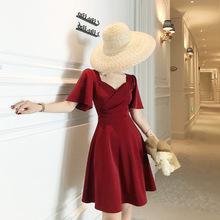 露合制衣 复古裙高腰法式中长款显瘦方领短袖连衣裙子2019夏a字裙