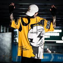 GENANX闪电潮牌印花潮T恤男装连帽卡通嘻哈 街头机能宽松短袖国潮
