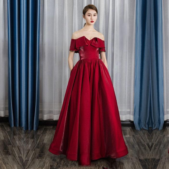 结婚敬酒服2019夏季新款红色一字肩显瘦宴会主持订婚晚礼服女长款