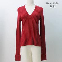 廠家直銷2019秋季新款大V領羊絨衫女 氣質時尚純色修身毛衣套衫