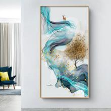 现代抽象玄关装饰画 新中式发财树麋鹿招财壁画 北欧简约客厅挂画
