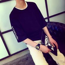 夏季新款五分袖t恤男日系潮流个性青少年宽松字母印花圆领男式T恤