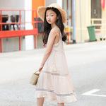 2019夏季雪纺连衣裙女童 时尚韩版洋气吊带裙 儿童公主裙一件代发