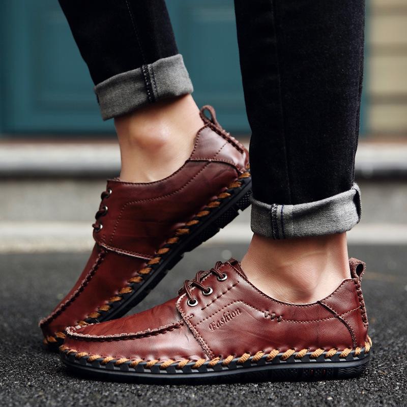 亚马逊2018春季新款?#34892;?#38386;皮鞋时尚乐福鞋纯手工缝线英伦风潮鞋