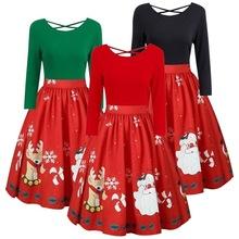 特价促销速卖通wish热卖女 圣诞主题印花性?#26032;?#32972;修身大码连衣裙