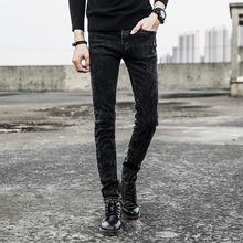 牛仔褲子男韓版修身彈力小腳褲春秋款跨境青少年男式牛仔休閑長褲