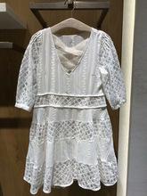 现货2019夏装甜美淑女V领镂空蕾丝拼?#26377;?#36523;五分袖连衣裙3G2O507