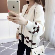 2019秋冬新款韓版女裝短款拼色外搭針織開衫寬松燈籠袖毛衣外套女